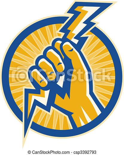 La mano sostiene un relámpago de electricidad dentro de un círculo. - csp3392793