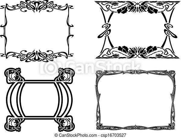 Conjunto, elegancia, cuatro, negro, marcos, barroco.