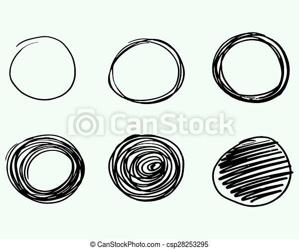 Círculos dibujados por Mano, elementos de diseño de vectores de logo. Marcador, pluma de fieltro, estilo de liniero. - csp28253295