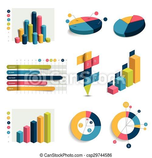 Un conjunto de gráficos de diseño 3D, gráficos. Columna, cubos, diseño de círculos. Infográficos. - csp29744586