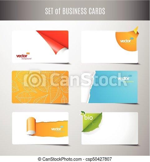 Un conjunto de 6 tipos de tarjetas de negocios creativas. - csp50427807