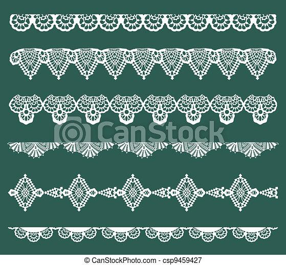 Set de Lace Ribbons para diseño y álbum de recortes en vector - csp9459427