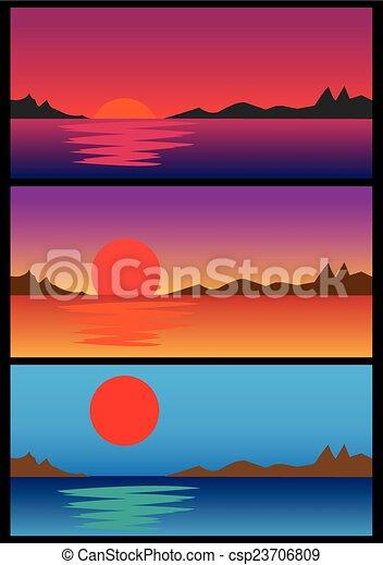 Amanecer y atardecer sobre el set de ilustración del vector de agua - csp23706809