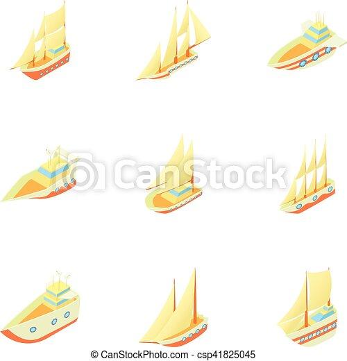 Conjunto Estilo Barcos Caricatura Iconos Iconos De La Tela Set