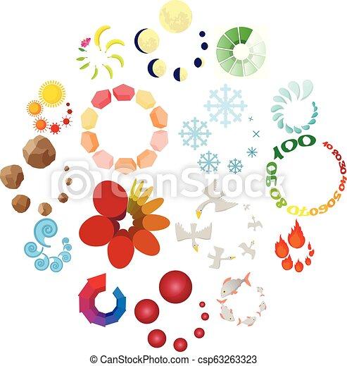 Cargando iconos, estilo de dibujos animados - csp63263323