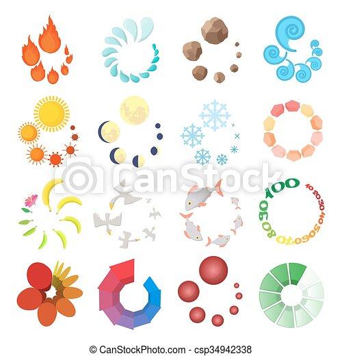 Cargando iconos, estilo de dibujos animados - csp34942338