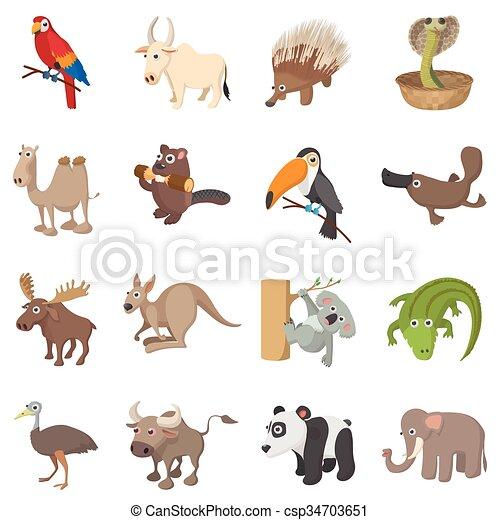 Íconos de animales, estilo de dibujos animados - csp34703651