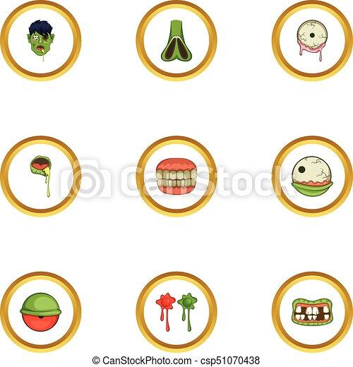 Iconos listos, estilo de dibujos animados - csp51070438