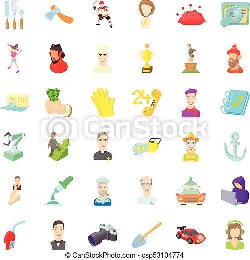 Iconos de empleo, estilo de dibujos animados - csp53104774