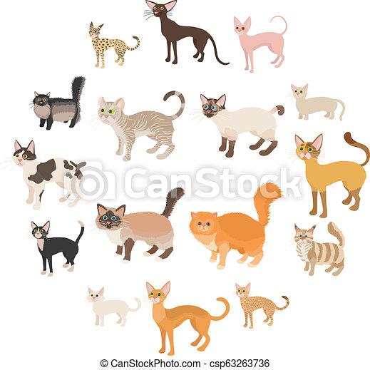 Íconos de gato, estilo de dibujos animados - csp63263736