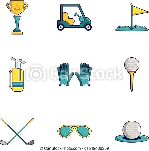 Juego de iconos de golf, estilo de dibujos animados - csp49488359