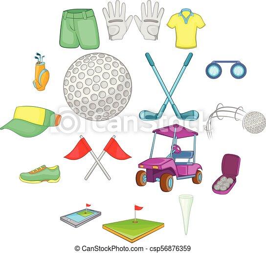 Juego de iconos de golf, estilo de dibujos animados - csp56876359