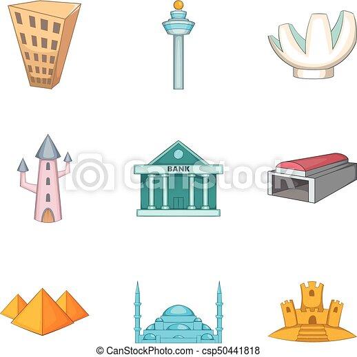Iconos de arquitectura, estilo de dibujos animados - csp50441818