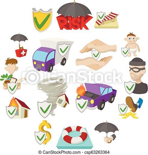Iconos de seguros, estilo de dibujos animados - csp63263364