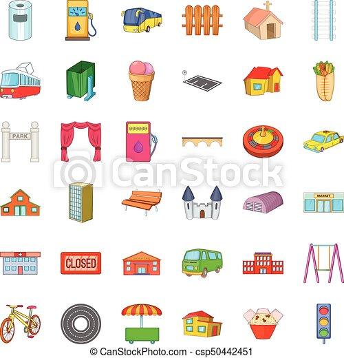 Iconos de arquitectura, estilo de dibujos animados - csp50442451