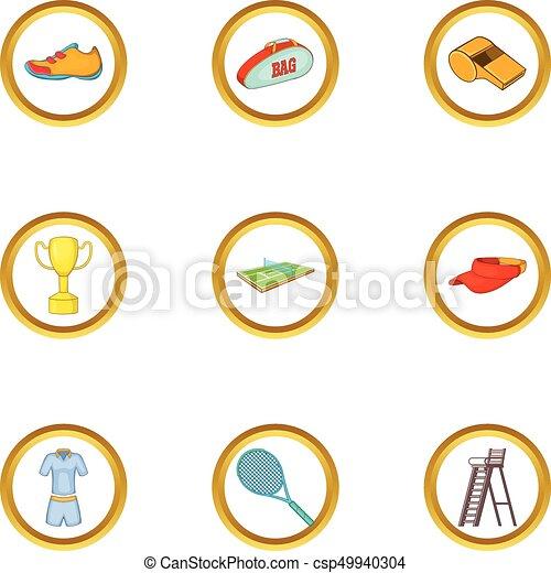 Icones de tenis, estilo de dibujos animados - csp49940304