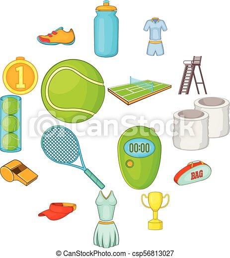 Icones de tenis, estilo de dibujos animados - csp56813027