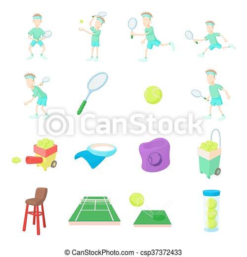 Icones de tenis, estilo de dibujos animados - csp37372433