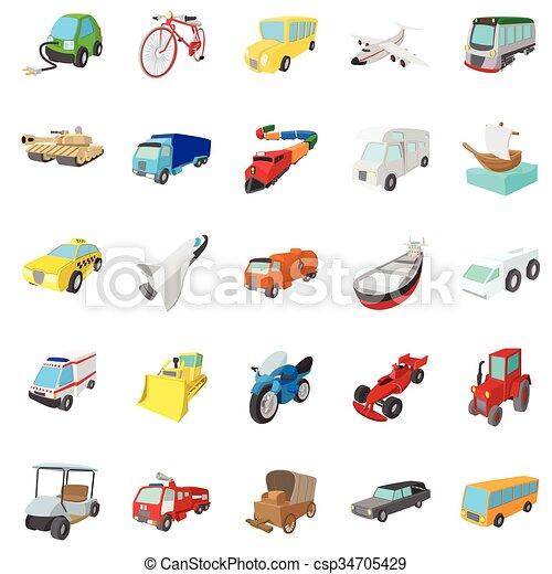 Íconos de transporte, estilo de dibujos animados - csp34705429