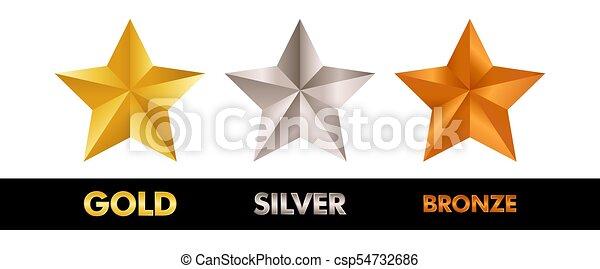 Gold Silver y Bronze establecen ilustración vectorial - csp54732686