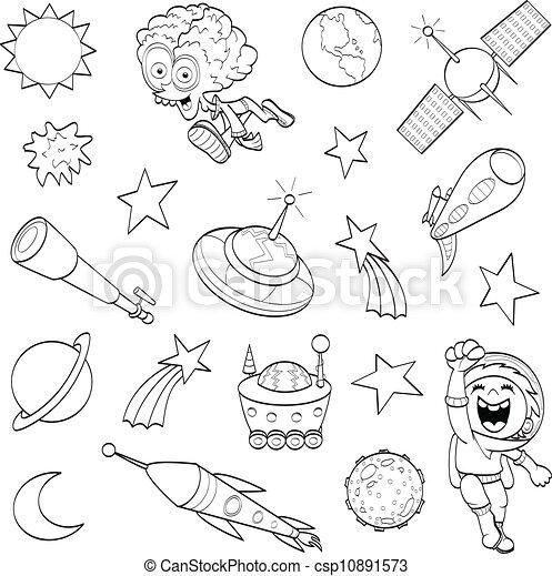 Conjunto, exterior, caricatura, espacio. Niño, telescopio, el suyo ...