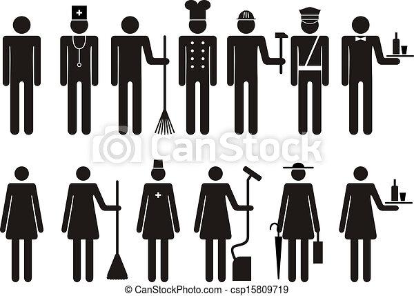 Un conjunto de iconos de figuras ocupan trabajo - csp15809719