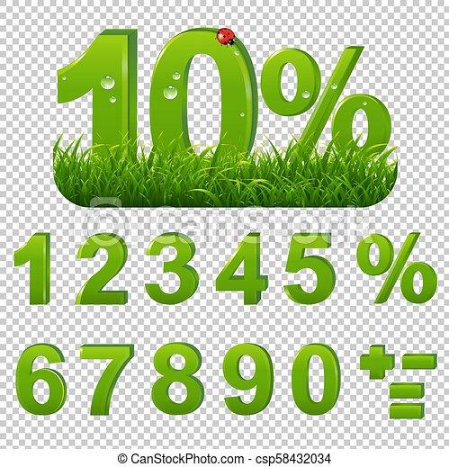 Verdes por ciento con pasto transparente - csp58432034