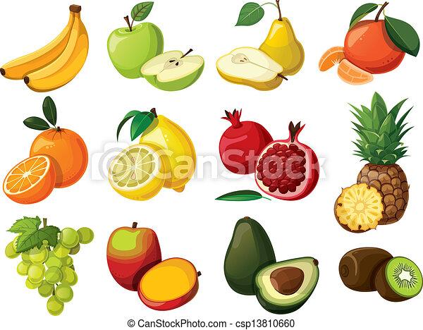 Un juego de frutas deliciosas. Aislado - csp13810660