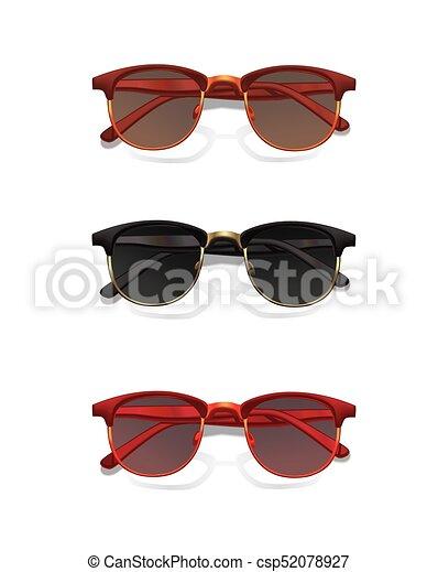 Unas gafas de sol modernas con sombra aislada en el fondo blanco. - csp52078927