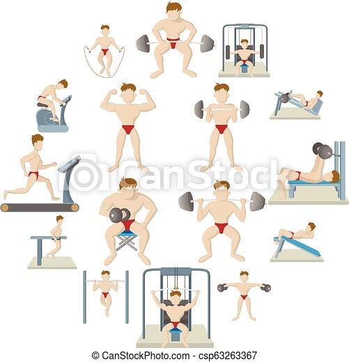 Iconos del gimnasio, estilo de dibujos animados - csp63263367