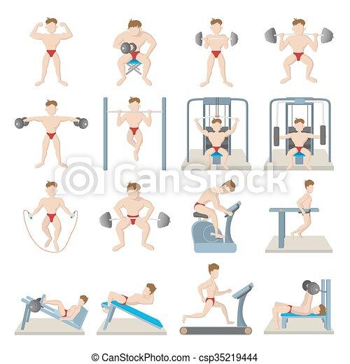 Iconos del gimnasio, estilo de dibujos animados - csp35219444