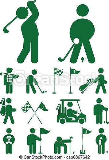 Un juego de iconos del golf - csp6867642