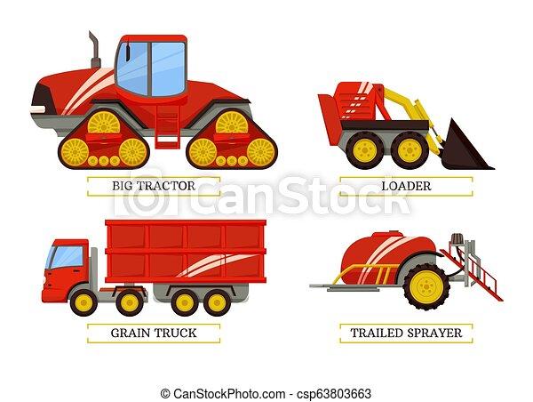 Gran tractor y cargador de ilustración vectorial - csp63803663