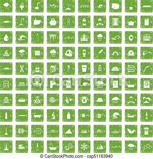 conjunto, grunge, suministro, iconos, agua, verde, 100 - csp51163940