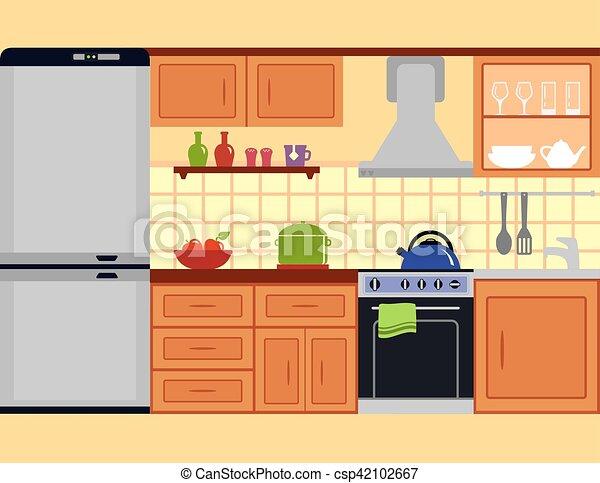 Conjunto, habitación, cocina, muebles. Cocina, habitación, familia ...