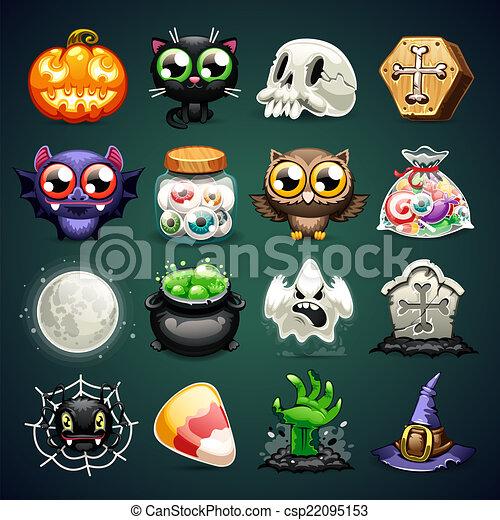 iconos de dibujos de Halloween - csp22095153