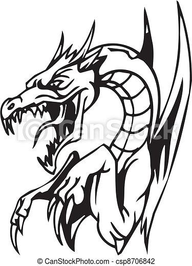 Dragón, halloween, ilustración del vector - csp8706842