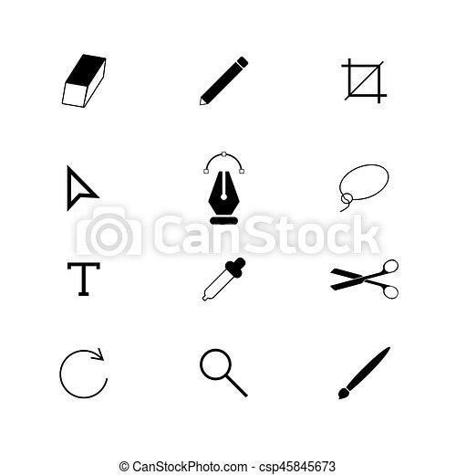 Las herramientas de diseño ponen iconos - csp45845673