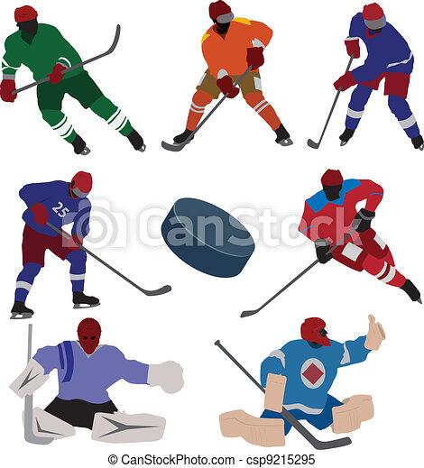conjunto, hockey, hielo - csp9215295