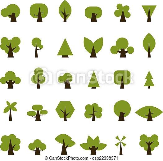 Un juego de iconos verdes para tu diseño - csp22338371