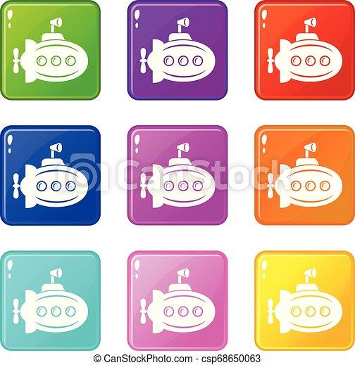 Bathyscaphe con iconos de cuernos puso una colección de 9 colores - csp68650063