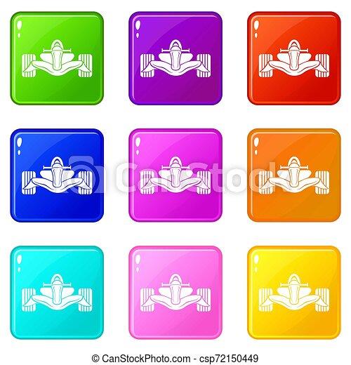 Los iconos de la fórmula de carreras marcaron 9 colores - csp72150449
