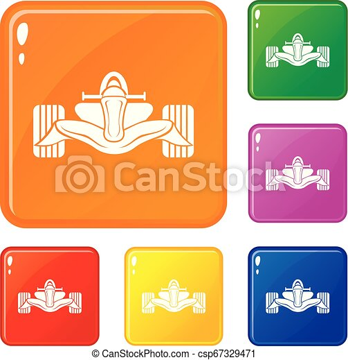 Los iconos de fórmula de carreras marcan el color vectorial - csp67329471