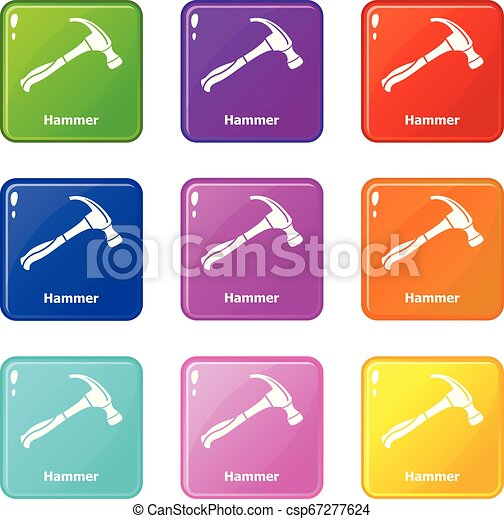Los iconos de martillo marcaron una colección de 9 colores - csp67277624