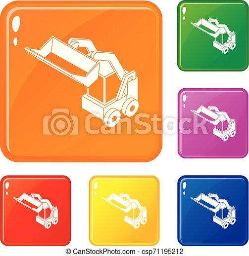 Los iconos de la máquina Bobcat marcan el color vector - csp71195212