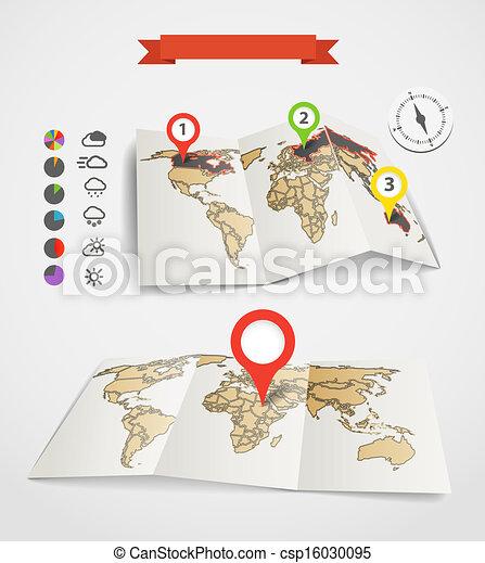 Mapas Eartgh con iconos del tiempo y gráficos de tartas - csp16030095
