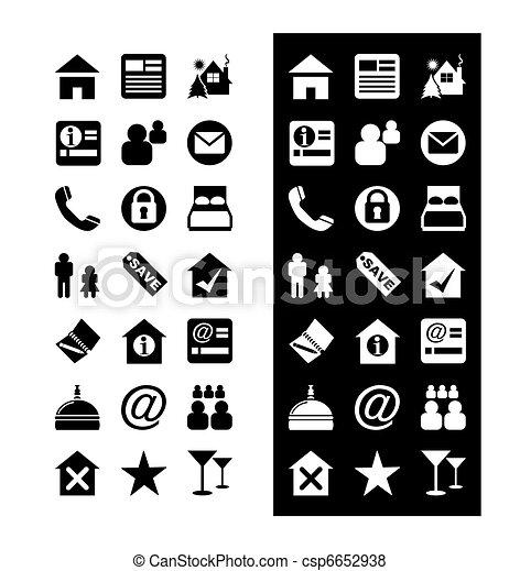iconos del hotel, vector de icono - csp6652938