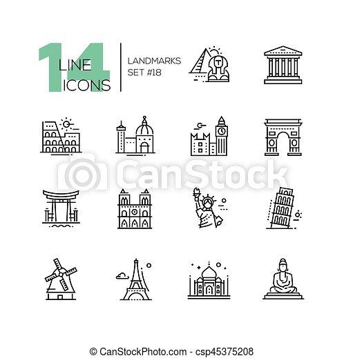 Puntos de referencia: iconos de una línea moderna - csp45375208