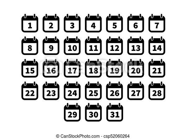 Calendario Dibujo Blanco Y Negro.Conjunto Iconos Simple Negro Calendario Blanco