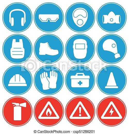 912d1730 Conjunto, iconos, trabajo, equipo, seguridad protección. Azul ...